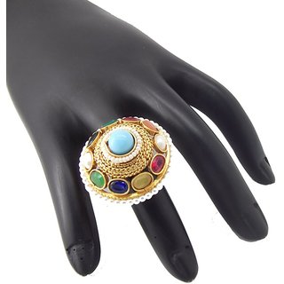 9Blings Latest Navratna Colletion Pearl Multicolour Gold Plated Copper Adjustable Finger Ring