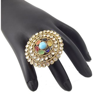9Blings Navratna Reverse Ad Multicolour Gold Plated Copper Adjustable Big Cocktail Finger Ring