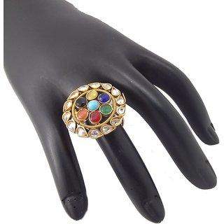 9Blings Navratna Reverse Ad Multicolour Gold Plated Copper Adjustable Finger Ring
