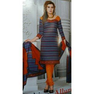 blue with orange cotton salwar material