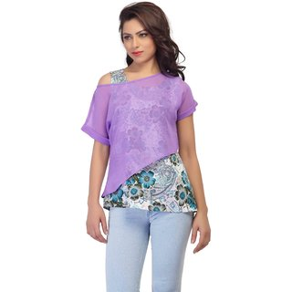 YAS D Digital flower printed inner  plain Violet colored outer
