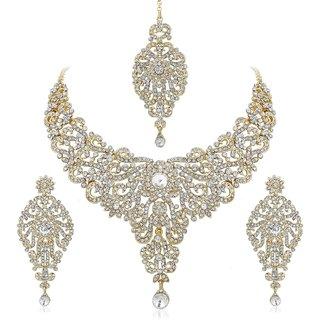 Vidhi Jewels Wedding wear Gold Plated Zinc Casting Necklace Set for Women VNK160G