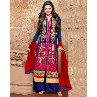 Ada Collection Blue Embroidered Georgette Dress Material