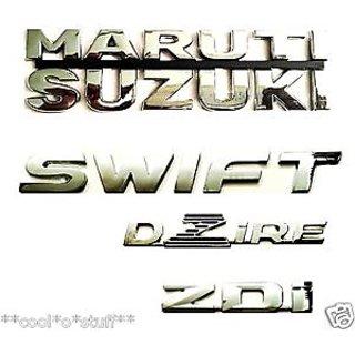 MARUTI SUZUKI + SWIFT + DZIRE + ZDi MONOGRAM EMBLEM CHROME (4 Set)