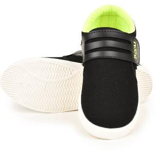 Comfort Cotton Men Black Velcro Casual Shoes