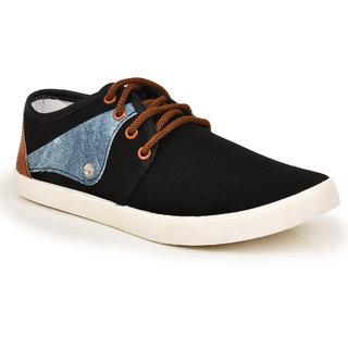 Comfort Cotton Men Black Lace-Up Casual Shoes
