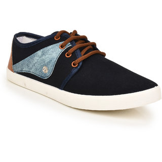 Comfort Cotton Men Blue Lace-Up Casual Shoes