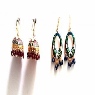 festive designer meenakari chandbali and tokri earring