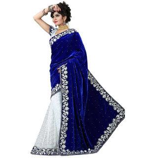 Designer Blue White Velvet Saree With Blouse