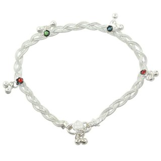 ASHIKA Brass Silver Plating Studded Silver Coloured Pair Of Anklets