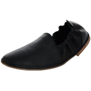 Footgear Men's Leather Mojaris in Black Color