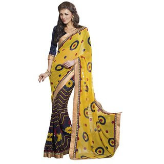 Triveni Multicolor Georgette Self Design Saree With Blouse