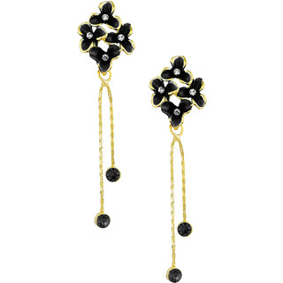 Shining Jewel Black Floral Designer Party Earring with Tassles (SJ420)