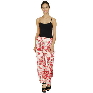 Pietra Cream colored with flower motif Harem Pants