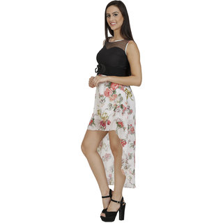 White  colored dress with flower motif