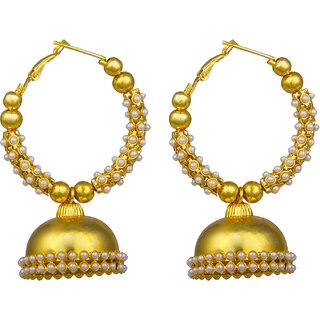 Shining Jewel Fashionable Traditional Gold Plated Bali  Jhumki with Pearls (SJ375)