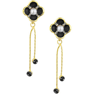 Shining Jewel Black Floral Designer Party Earring with Tassles (SJ411)