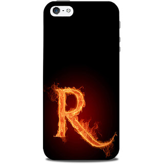 Mikzy Fire Letter R With Black Background Printed Designer Back Cover Case for Iphone 5/5S