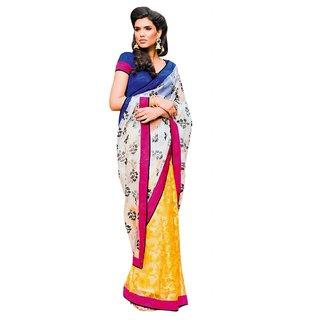 Triveni Gold Art Silk Lace Saree With Blouse