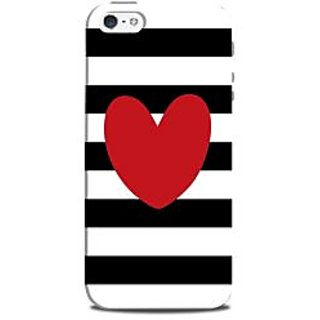 Mikzy Red Heart On Black And White Strips Printed Designer Back Cover Case for Iphone 5/5S