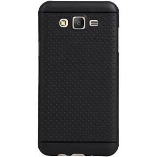 Premium Dotted Black Rubberised Soft Back Case Skin Cover For Samsung Galaxy J2 (Black)