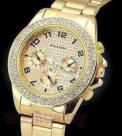 RIG Stone Studded golden watch for Women (SKU-181) 6 month warranty