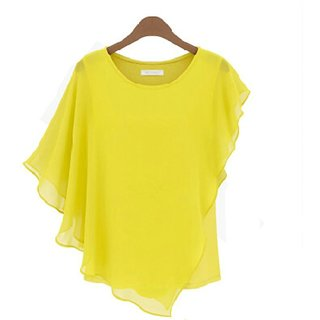 YAS D  Georgette Plain yellow colored party wear top