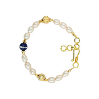 Pearlz Ocean Pearl And Blue Jade 7 inches Bracelet with Extension