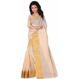 Kunika Saree White Colors Cotton Saree With Blouse