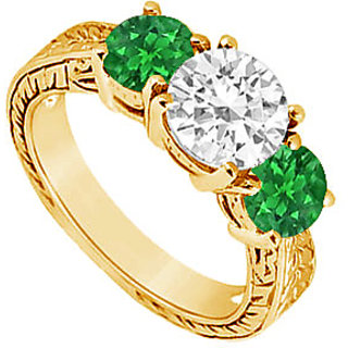 Classy Three Stone Emerald And Diamond Ring In 14K Yellow Gold