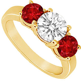 Divine Three Stone Ruby And Diamond Ring In 14K Yellow Gold