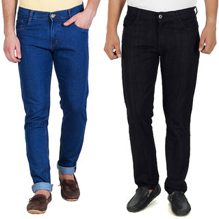 Stylox Men's Blue  Black Slim Fit Jeans (Set of 2)