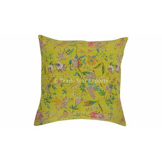 100 Cotton Printed Yellow Cushion Covers From the house of Trade Star