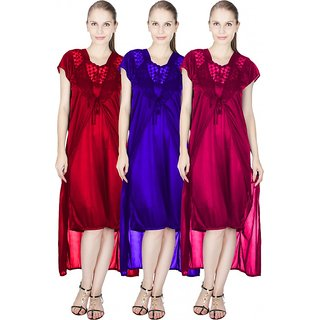 Vloria Polysatin Women Nighties-Multi