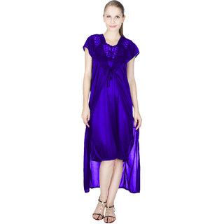 Vloria Satin Women Nighties-Dark Blue
