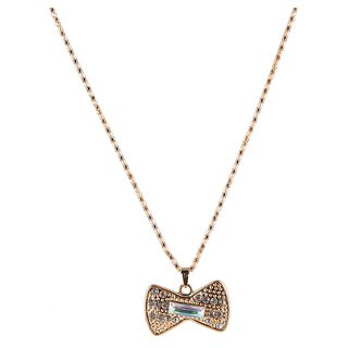 The99Jewel Gold Plated Bow Shape Chain Pendant - AAB0390