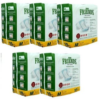 Friends Adult Diapers Medium (10 pieces) 28-44 inches Waist Size (Pack of 50)