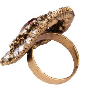 Diva Walk gold stone studded ring-00192