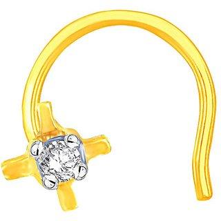 Shuddhi 18K Yellow Gold Diamond Nosepin