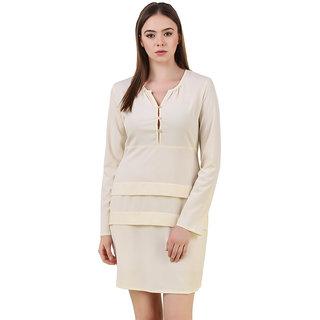 Off White Short Polyster Dress