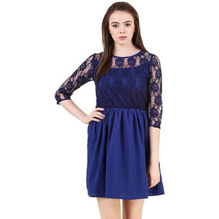 Navy Blue Lace Gathered Dress