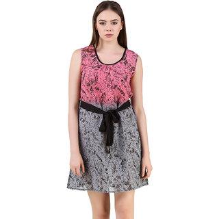 PinkGrey Digtal Print Half N Half Dress
