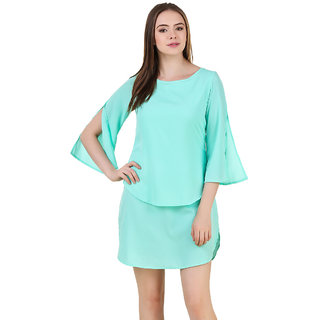 Mint Color Layerd Dress