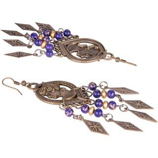 Diva Walk bronze dangler earrings with purple beads-00006