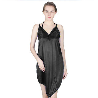 Vloria Satin Women Nighties-Black