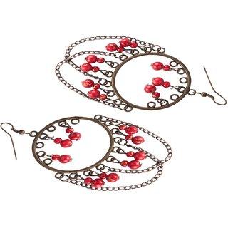 Diva Walk bronze dangler earrings with red beads-00049