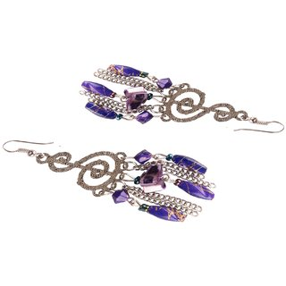 Diva Walk silver dangler earrings with purple beads-00057