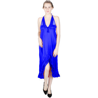 Vloria Satin Women Nighties-Dark Blue