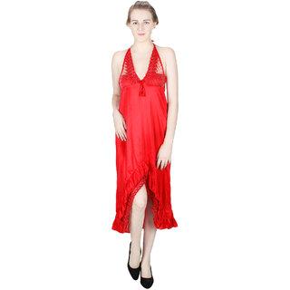 Vloria Satin Women Nighties-Red