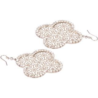 Diva Walk silver  bronze hoop earrings with american diamonds-00116